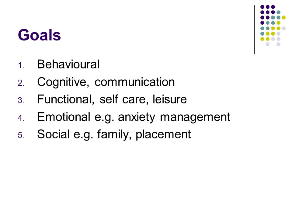 Goals 1. Behavioural 2. Cognitive, communication 3.