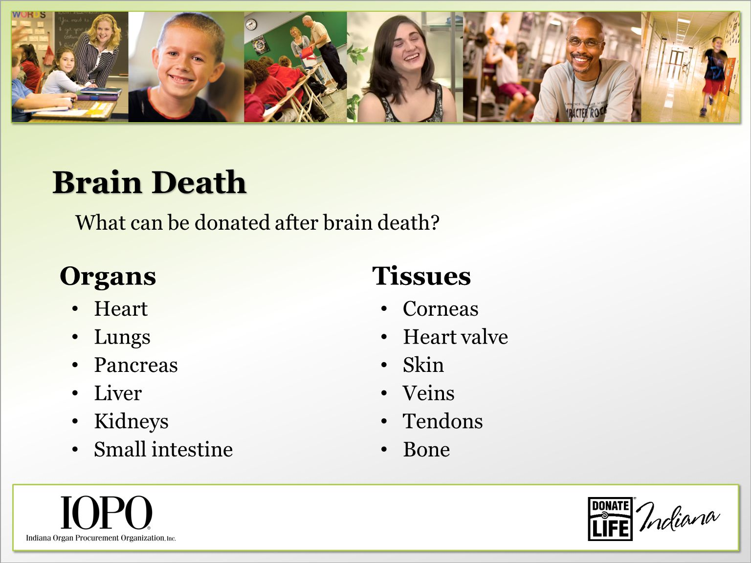 Brain Death What can be donated after brain death? OrgansTissues Heart Lungs Pancreas Liver Kidneys Small intestine Tendons Veins Skin Heart valve Cor