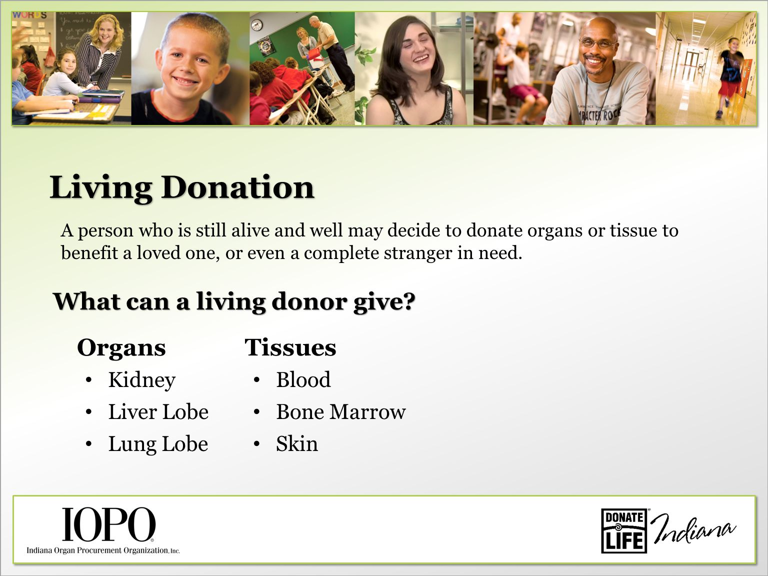 Living Donation What can a living donor give.