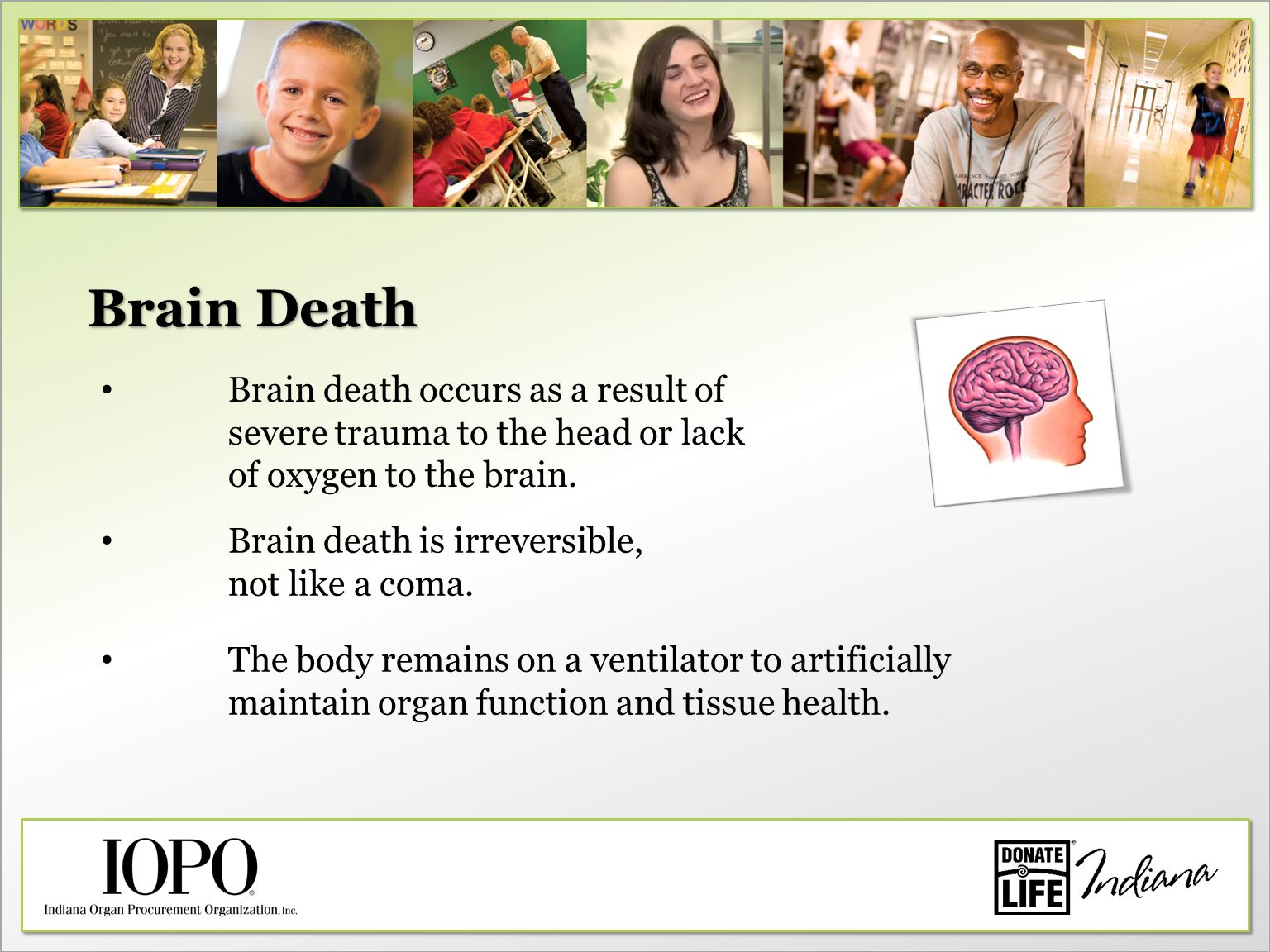 Brain Death Brain death occurs as a result of severe trauma to the head or lack of oxygen to the brain.