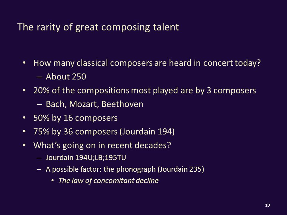The rarity of great composing talent How many classical composers are heard in concert today.