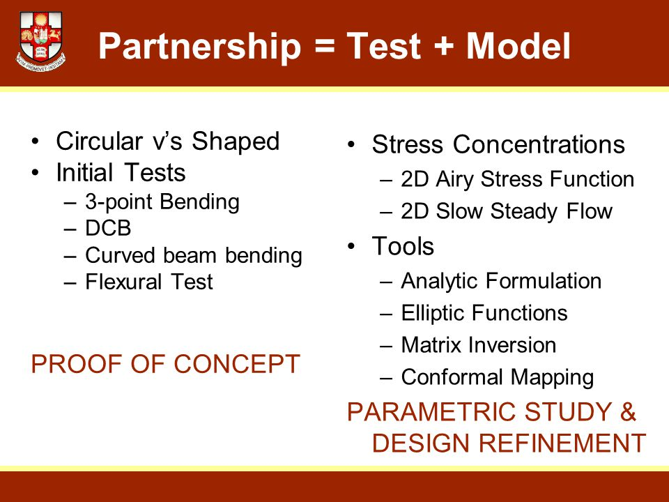 Partnership = Test + Model Stress Concentrations –2D Airy Stress Function –2D Slow Steady Flow Tools –Analytic Formulation –Elliptic Functions –Matrix