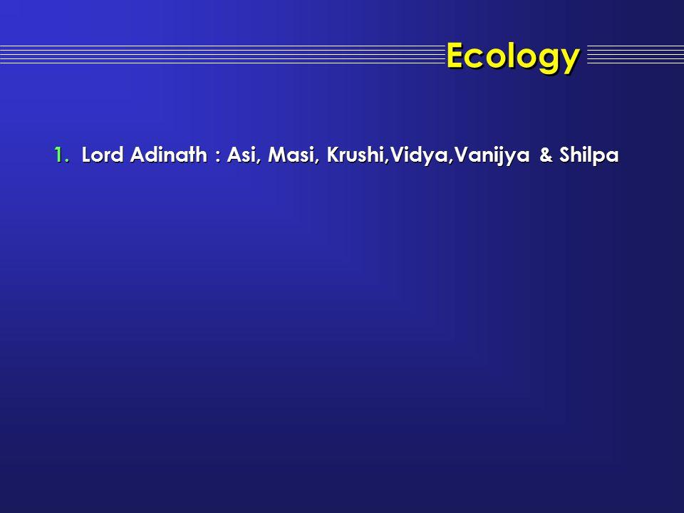 Ecology 1.Lord Adinath : Asi, Masi, Krushi,Vidya,Vanijya & Shilpa