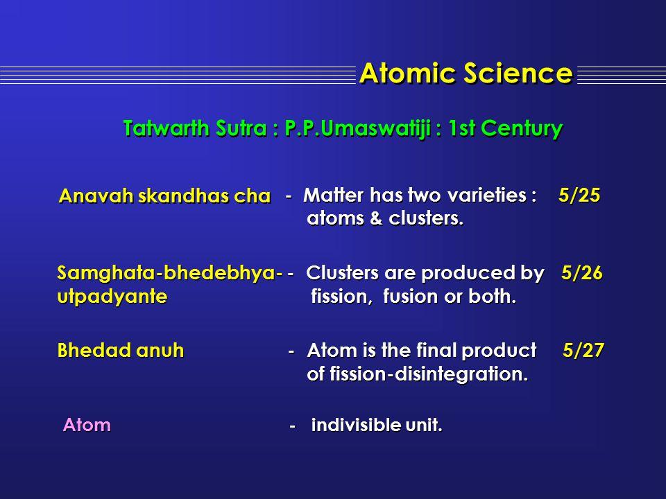 Atomic Science Atom - indivisible unit. Atom - indivisible unit. Tatwarth Sutra : P.P.Umaswatiji : 1st Century Anavah skandhas cha - Matter has two va