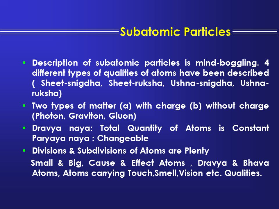 Subatomic Particles Description of subatomic particles is mind-boggling. 4 different types of qualities of atoms have been described ( Sheet-snigdha,