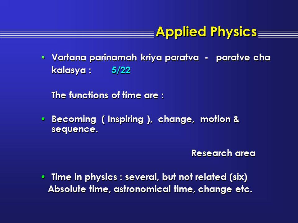 Vartana parinamah kriya paratva - paratve cha kalasya : 5/22 The functions of time are : Becoming ( Inspiring ), change, motion & sequence. Research a