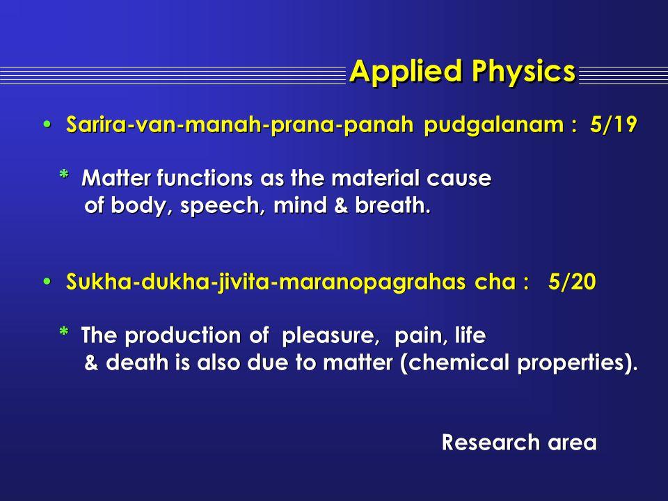 Sarira-van-manah-prana-panah pudgalanam : 5/19 * Matter functions as the material cause of body, speech, mind & breath. Sarira-van-manah-prana-panah p