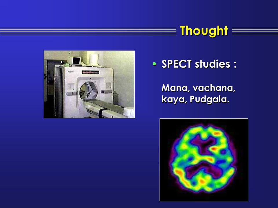 Thought SPECT studies : Mana, vachana, kaya, Pudgala. SPECT studies : Mana, vachana, kaya, Pudgala.