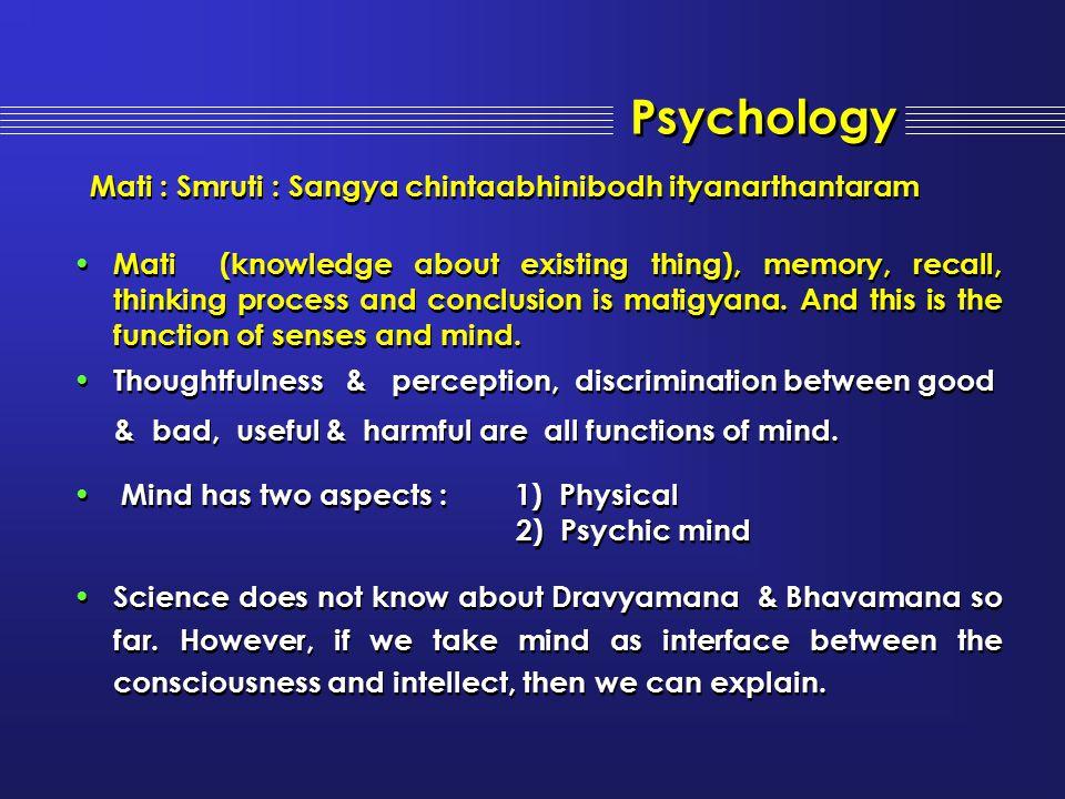 Mati : Smruti : Sangya chintaabhinibodh ityanarthantaram Mati (knowledge about existing thing), memory, recall, thinking process and conclusion is mat