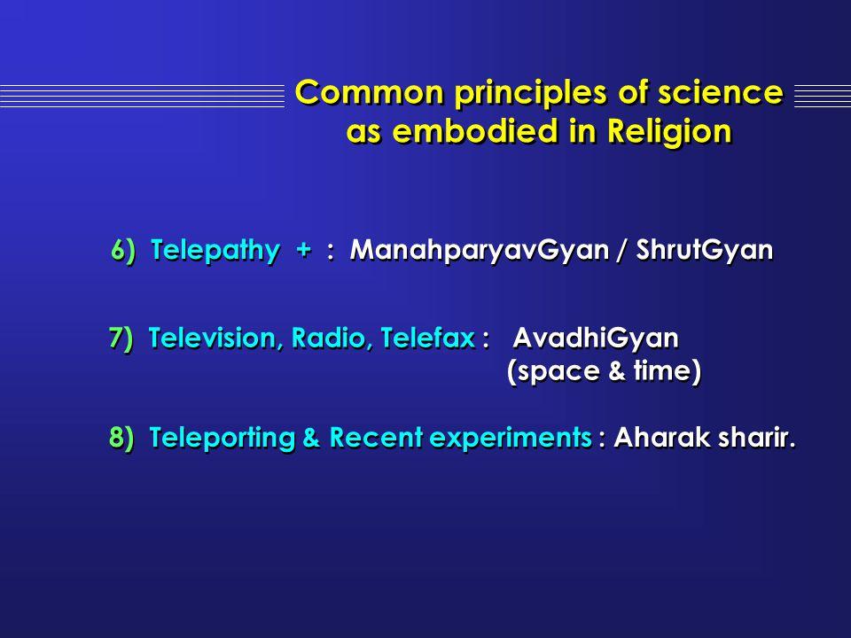 6) Telepathy + : ManahparyavGyan / ShrutGyan 7) Television, Radio, Telefax : AvadhiGyan (space & time) 7) Television, Radio, Telefax : AvadhiGyan (spa