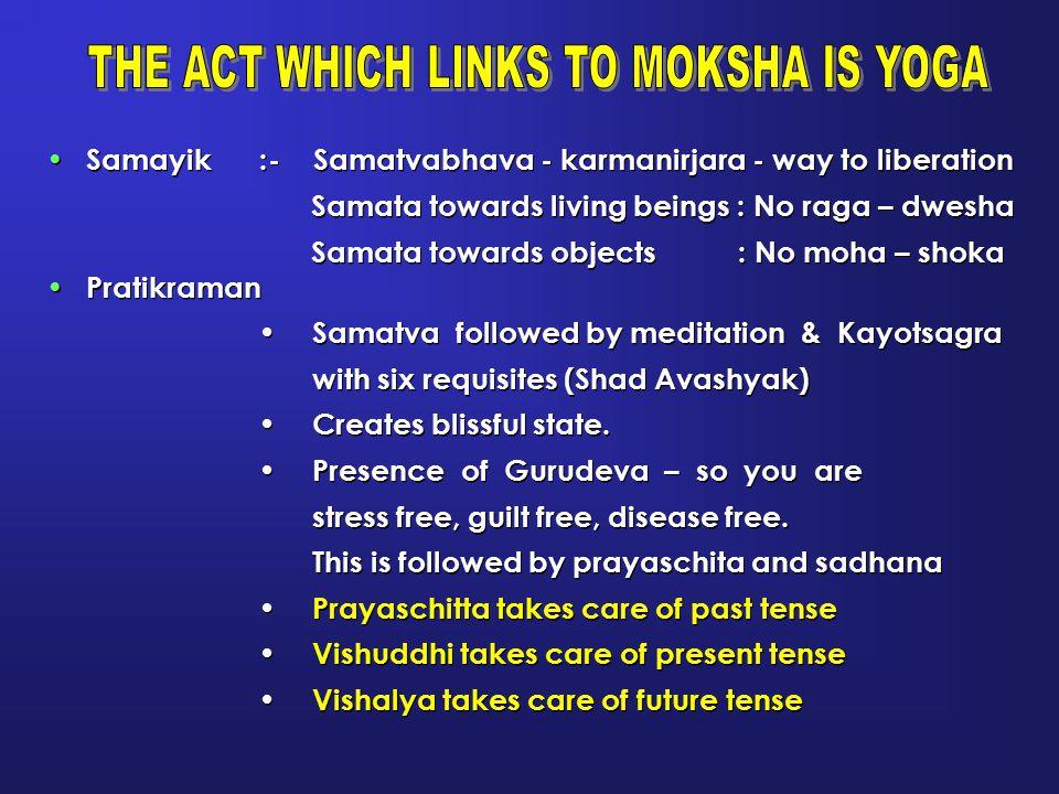 Samayik :- Samatvabhava - karmanirjara - way to liberation Samata towards living beings : No raga – dwesha Samata towards objects : No moha – shoka Pr
