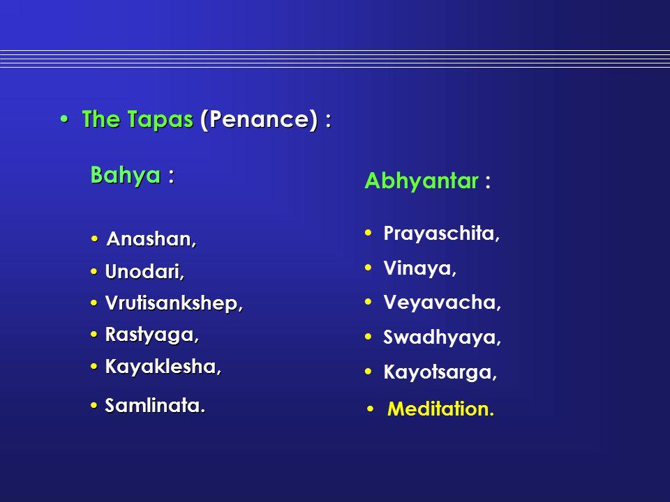 The Tapas (Penance) : Bahya : Anashan, Unodari, Vrutisankshep, Rastyaga, Kayaklesha, Samlinata. The Tapas (Penance) : Bahya : Anashan, Unodari, Vrutis