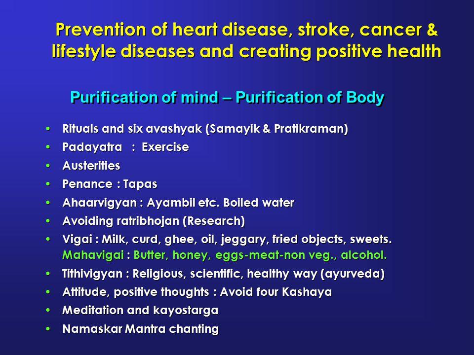 Prevention of heart disease, stroke, cancer & lifestyle diseases and creating positive health Rituals and six avashyak (Samayik & Pratikraman) Padayat