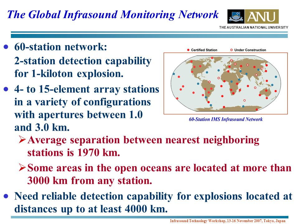 THE AUSTRALIAN NATIONAL UNIVERSITY Infrasound Technology Workshop, 13-16 November 2007, Tokyo, Japan Predicted Array-Averaged Correlation Coefficients for 3-Component Sub-Arrays at IS07  Azimuthal variation of the array correlation coefficient may be anisotropic at higher frequencies.
