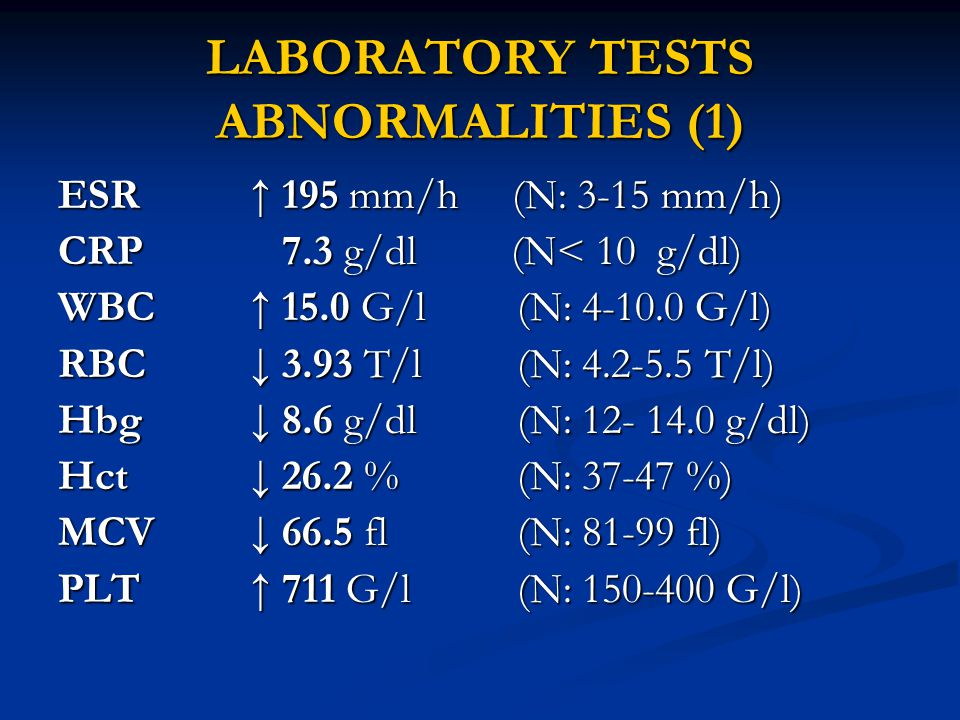 LABORATORY TESTS ABNORMALITIES (1) ESR ↑ 195 mm/h (N: 3-15 mm/h) CRP 7.3 g/dl (N< 10 g/dl) WBC↑ 15.0 G/l (N: 4-10.0 G/l) RBC↓ 3.93 T/l (N: 4.2-5.5 T/l) Hbg ↓ 8.6 g/dl (N: 12- 14.0 g/dl) Hct↓ 26.2 % (N: 37-47 %) MCV↓ 66.5 fl (N: 81-99 fl) PLT↑ 711 G/l (N: 150-400 G/l)