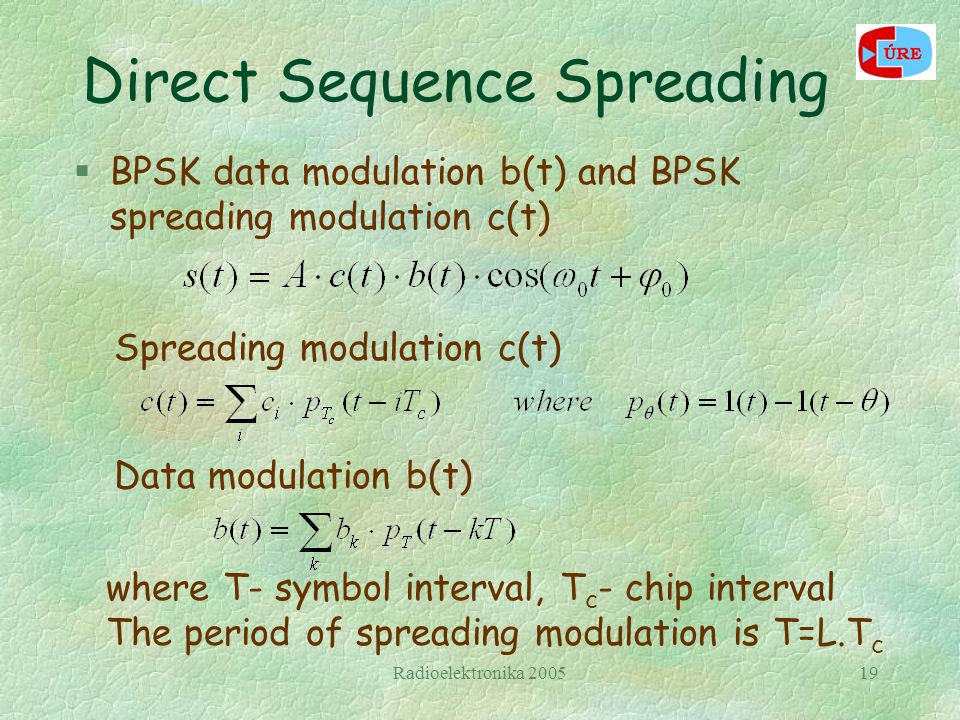 Radioelektronika 200519 Direct Sequence Spreading §BPSK data modulation b(t) and BPSK spreading modulation c(t) Spreading modulation c(t) Data modulation b(t) where T- symbol interval, T c - chip interval The period of spreading modulation is T=L.T c