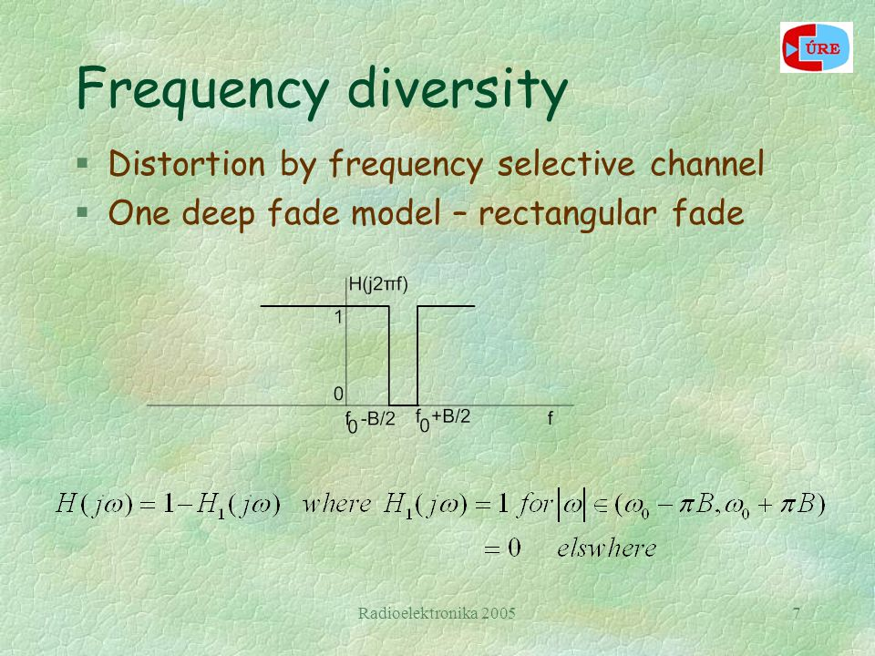 Radioelektronika 20057 Frequency diversity §Distortion by frequency selective channel §One deep fade model – rectangular fade