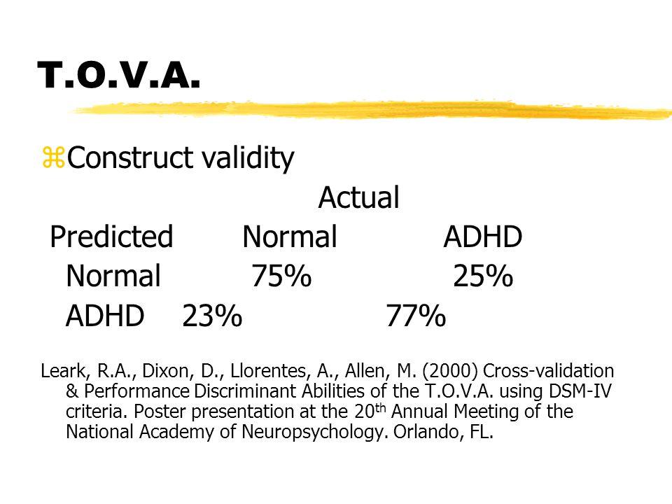 T.O.V.A. zConstruct validity Actual PredictedNormalADHD Normal 75% 25% ADHD 23% 77% Leark, R.A., Dixon, D., Llorentes, A., Allen, M. (2000) Cross-vali