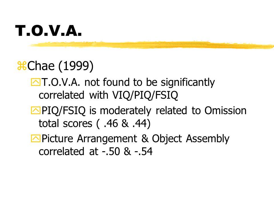 T.O.V.A. zChae (1999) yT.O.V.A. not found to be significantly correlated with VIQ/PIQ/FSIQ yPIQ/FSIQ is moderately related to Omission total scores (.