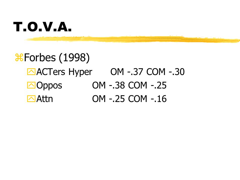 T.O.V.A. zForbes (1998) yACTers HyperOM -.37 COM -.30 yOppos OM -.38 COM -.25 yAttn OM -.25 COM -.16