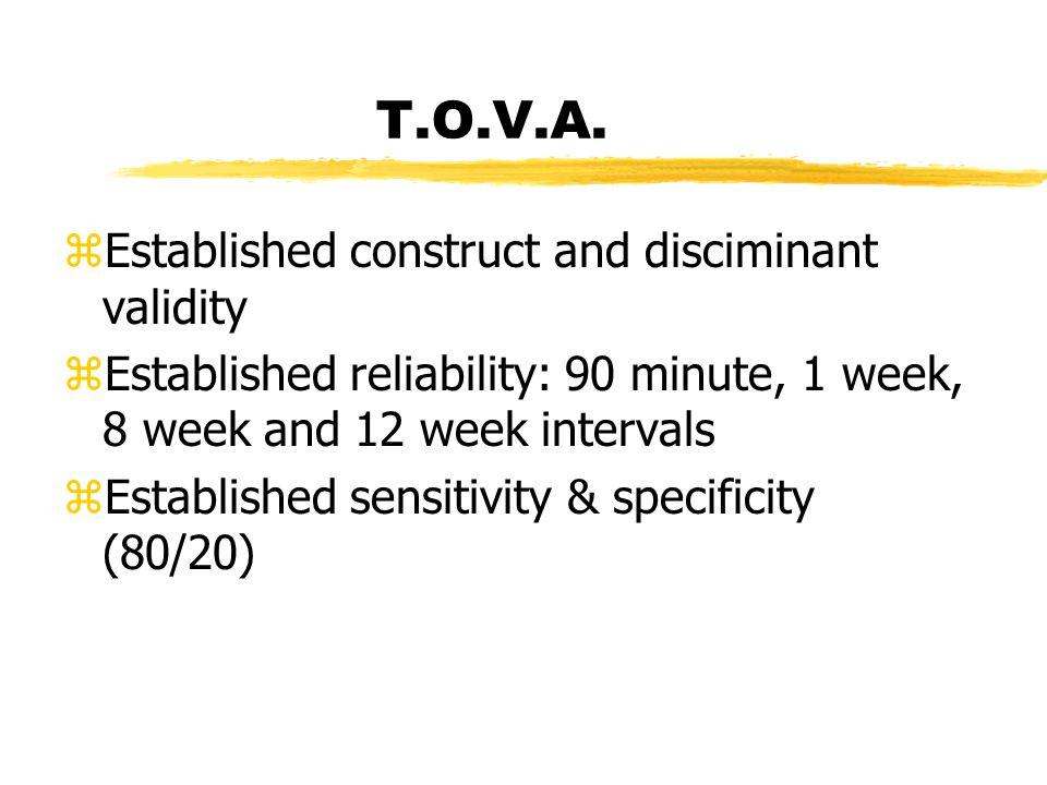 T.O.V.A. zEstablished construct and disciminant validity zEstablished reliability: 90 minute, 1 week, 8 week and 12 week intervals zEstablished sensit