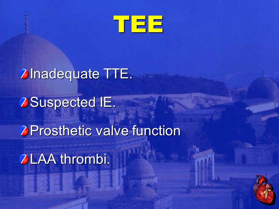 TEE Inadequate TTE. Suspected IE. Prosthetic valve function LAA thrombi.
