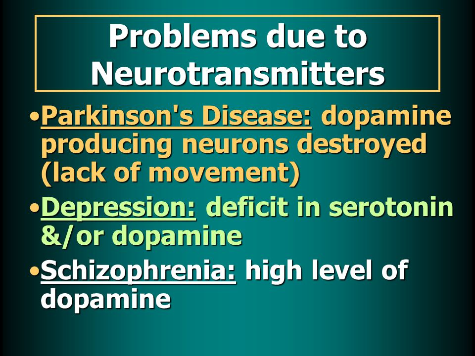 Problems due to Neurotransmitters Parkinson s Disease: dopamine producing neurons destroyed (lack of movement)Parkinson s Disease: dopamine producing neurons destroyed (lack of movement) Depression: deficit in serotonin &/or dopamineDepression: deficit in serotonin &/or dopamine Schizophrenia: high level of dopamineSchizophrenia: high level of dopamine