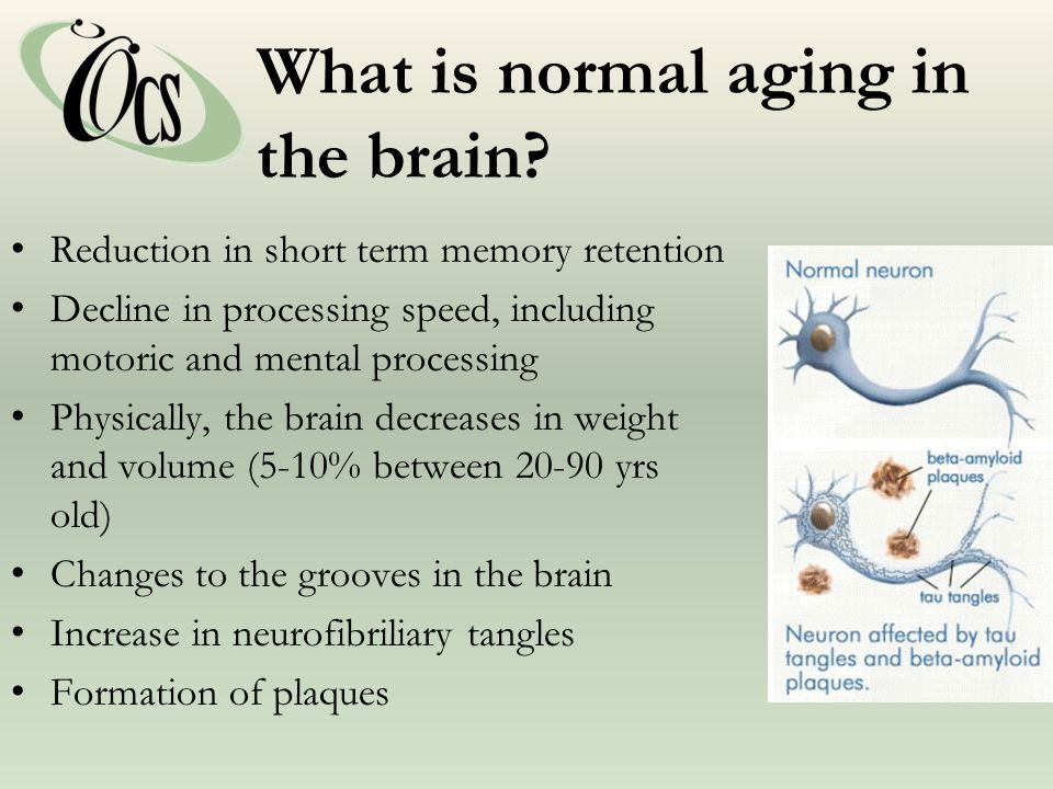 What is normal aging in the brain.
