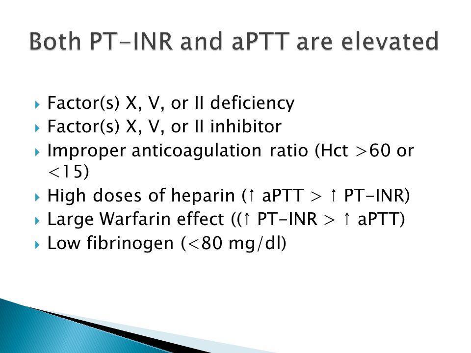  Factor(s) X, V, or II deficiency  Factor(s) X, V, or II inhibitor  Improper anticoagulation ratio (Hct >60 or <15)  High doses of heparin (↑ aPTT > ↑ PT-INR)  Large Warfarin effect ((↑ PT-INR > ↑ aPTT)  Low fibrinogen (<80 mg/dl)
