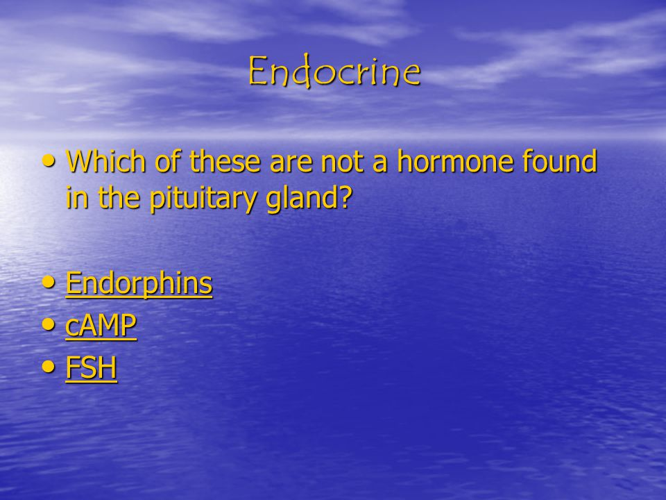 Endocrine Which of these are not a hormone found in the pituitary gland.