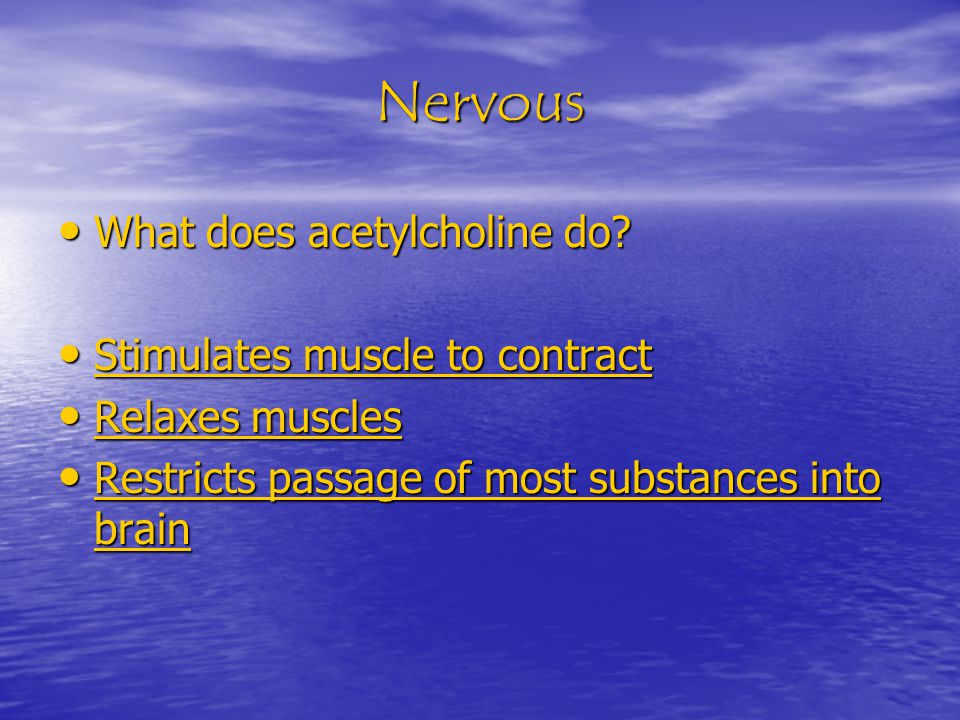 Nervous What does acetylcholine do. What does acetylcholine do.