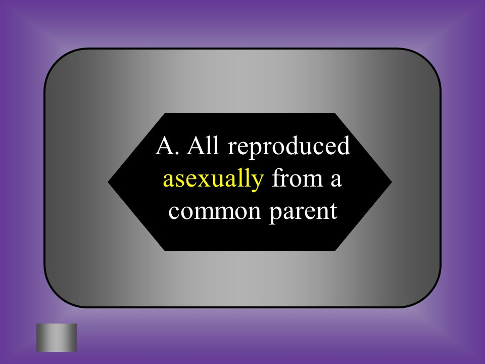 A:B: All reproduced asexually from a common parent All were reproduced sexually from a single pair of parents #5 When looking at DNA of three unknown organisms, you find that they all have the same sequence of DNA.