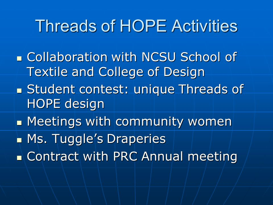 Threads of HOPE Activities Collaboration with NCSU School of Textile and College of Design Collaboration with NCSU School of Textile and College of Design Student contest: unique Threads of HOPE design Student contest: unique Threads of HOPE design Meetings with community women Meetings with community women Ms.