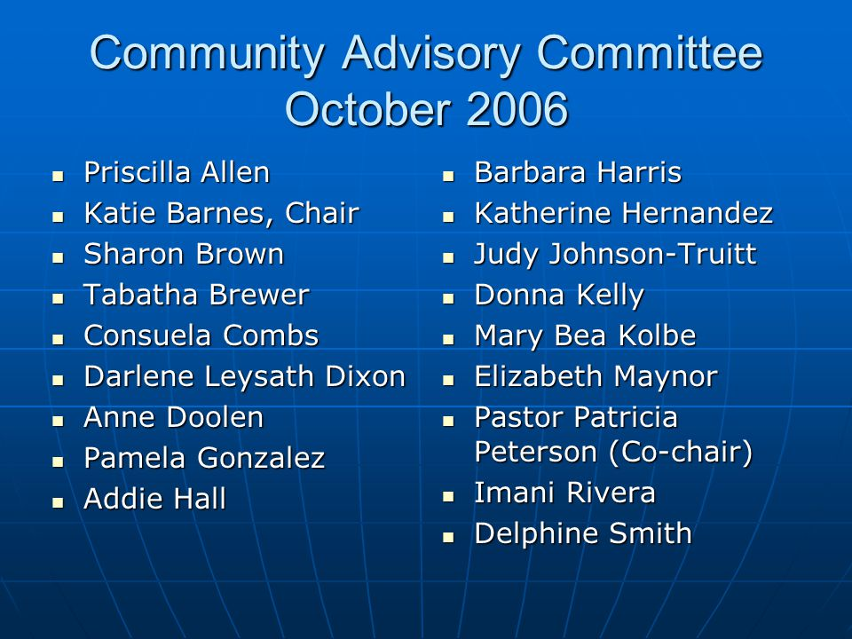 Women's Empowerment Days Community Advisory Committee Project 2003 In response to community concerns about the economic downturn and the need for grassroots development and empowerment efforts Planned and implemented by the Community Advisory Committee Planned and implemented by the Community Advisory Committee Address health and economic needs of blue collar women Address health and economic needs of blue collar women Community-wide events Community-wide events New linkages among agencies New linkages among agencies