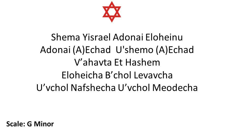 Shema Yisrael Adonai Eloheinu Adonai (A)Echad U shemo (A)Echad V'ahavta Et Hashem Eloheicha B'chol Levavcha U'vchol Nafshecha U'vchol Meodecha Scale: G Minor