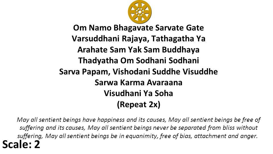 Om Namo Bhagavate Sarvate Gate Varsuddhani Rajaya, Tathagatha Ya Arahate Sam Yak Sam Buddhaya Thadyatha Om Sodhani Sodhani Sarva Papam, Vishodani Suddhe Visuddhe Sarwa Karma Avaraana Visudhani Ya Soha (Repeat 2x) May all sentient beings have happiness and its causes, May all sentient beings be free of suffering and its causes, May all sentient beings never be separated from bliss without suffering, May all sentient beings be in equanimity, free of bias, attachment and anger.