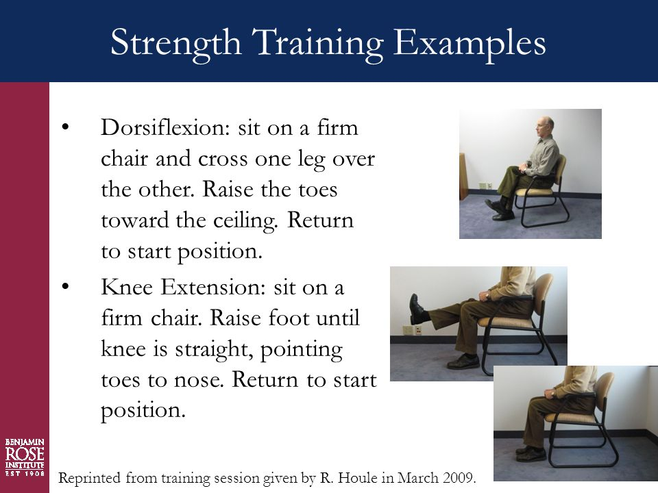 Strength Training Examples Dorsiflexion: sit on a firm chair and cross one leg over the other.