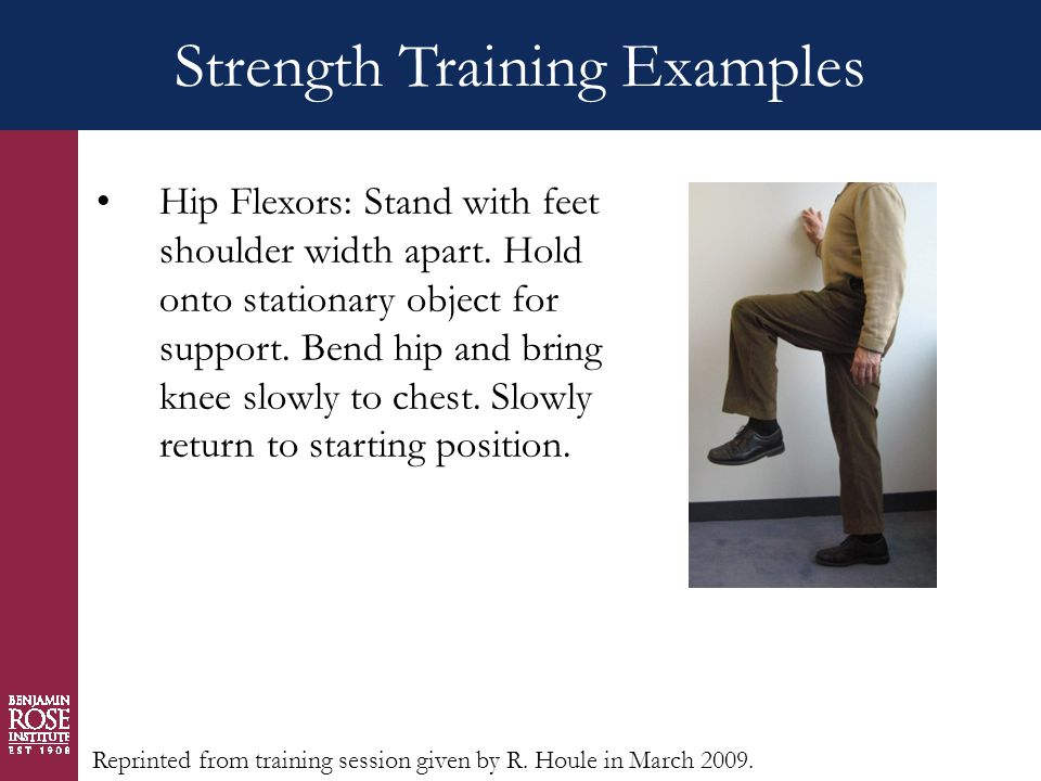 Strength Training Examples Hip Flexors: Stand with feet shoulder width apart.
