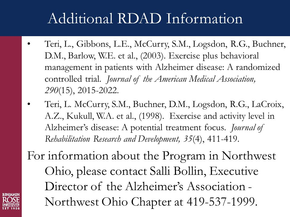 Additional RDAD Information Teri, L., Gibbons, L.E., McCurry, S.M., Logsdon, R.G., Buchner, D.M., Barlow, W.E.