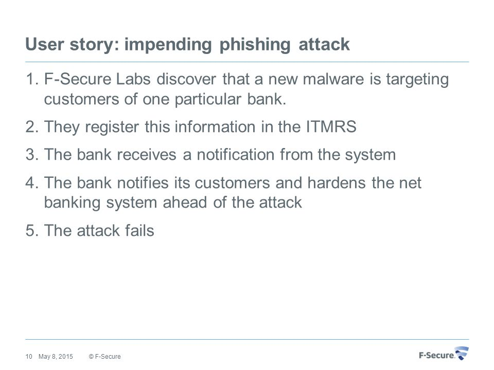 User story: impending phishing attack 1.F-Secure Labs discover that a new malware is targeting customers of one particular bank.