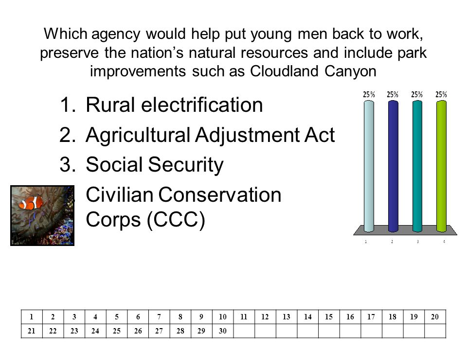 Which agency would help put young men back to work, preserve the nation's natural resources and include park improvements such as Cloudland Canyon 1.Rural electrification 2.Agricultural Adjustment Act 3.Social Security 4.Civilian Conservation Corps (CCC) 1234567891011121314151617181920 21222324252627282930