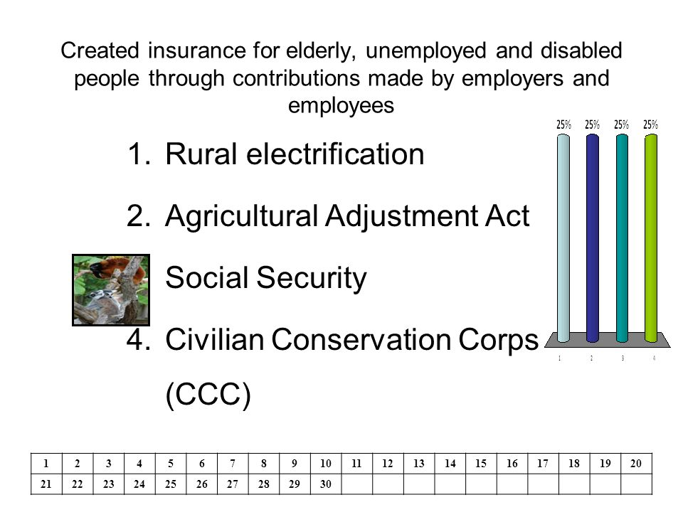 Created insurance for elderly, unemployed and disabled people through contributions made by employers and employees 1.Rural electrification 2.Agricultural Adjustment Act 3.Social Security 4.Civilian Conservation Corps (CCC) 1234567891011121314151617181920 21222324252627282930