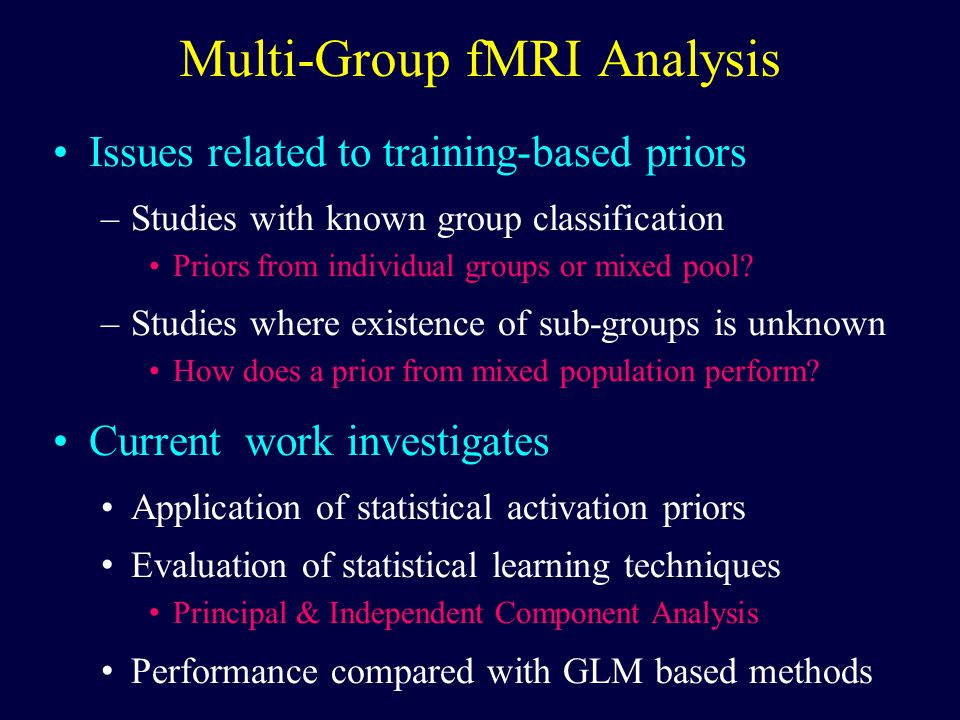 Multi-Group fMRI Analysis Issues related to training-based priors –Studies with known group classification Priors from individual groups or mixed pool.