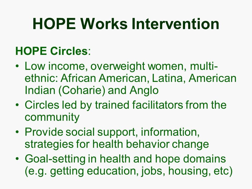 HOPE Works Intervention HOPE Circles: Low income, overweight women, multi- ethnic: African American, Latina, American Indian (Coharie) and Anglo Circles led by trained facilitators from the community Provide social support, information, strategies for health behavior change Goal-setting in health and hope domains (e.g.