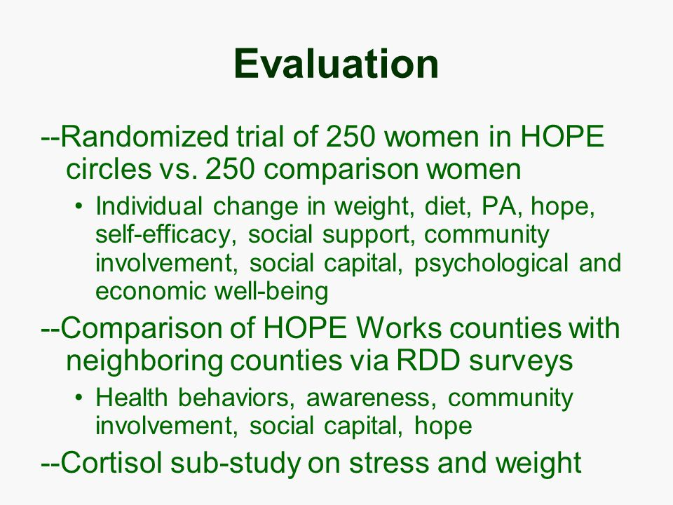 Evaluation --Randomized trial of 250 women in HOPE circles vs.