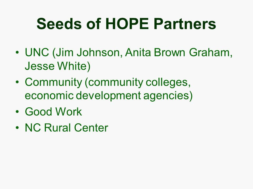Seeds of HOPE Partners UNC (Jim Johnson, Anita Brown Graham, Jesse White) Community (community colleges, economic development agencies) Good Work NC Rural Center