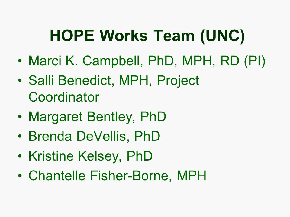 HOPE Works Team (UNC) Marci K.