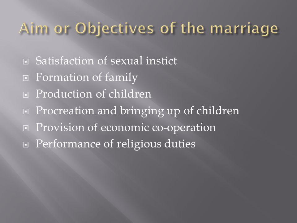  Performance of duties towards family  Development of personality  Provides social status  Economic unit  Mental peace