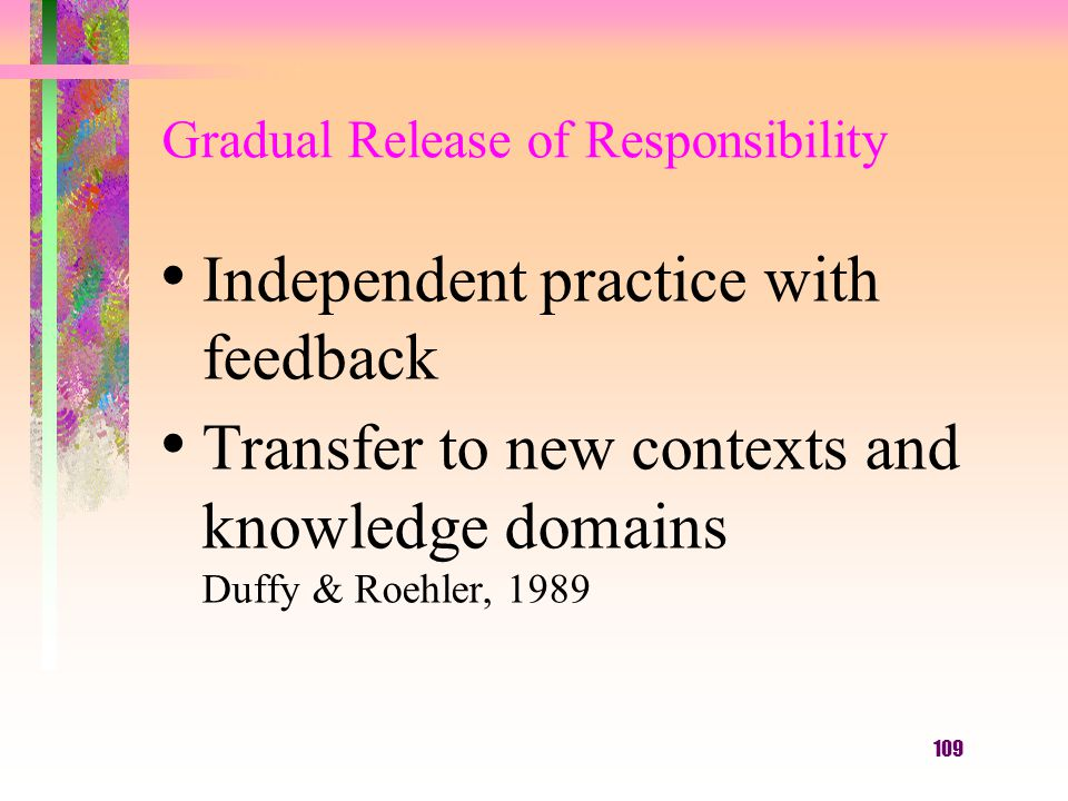 109 Gradual Release of Responsibility Independent practice with feedback Transfer to new contexts and knowledge domains Duffy & Roehler, 1989