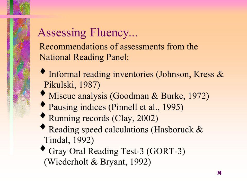 74 Assessing Fluency...